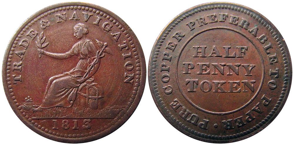Trade & Navigation - 1/2 penny 1813