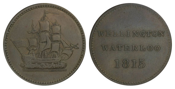Waterloo - 1/2 penny 1815 - Ship