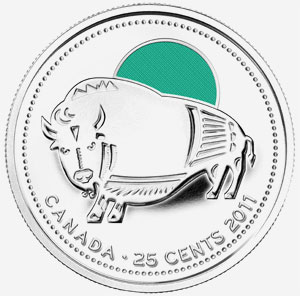25 cents 2011 - Wood Bison - Green