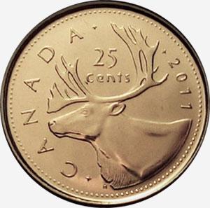 25 cents 2011 - Caribou