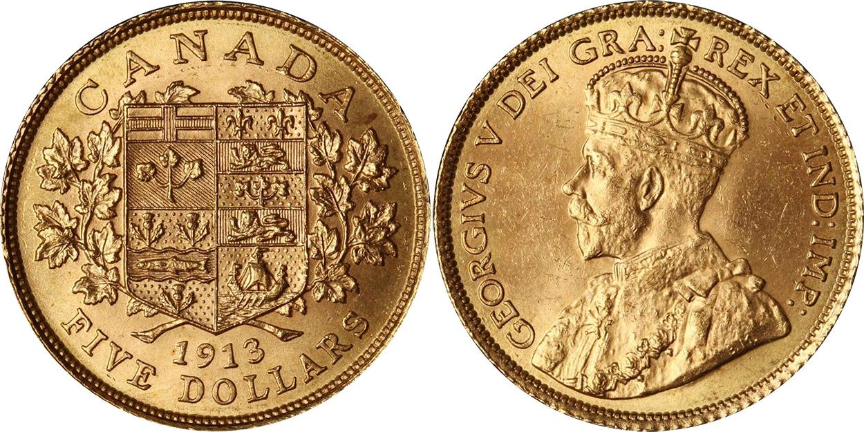 5 dollars 1913 en or