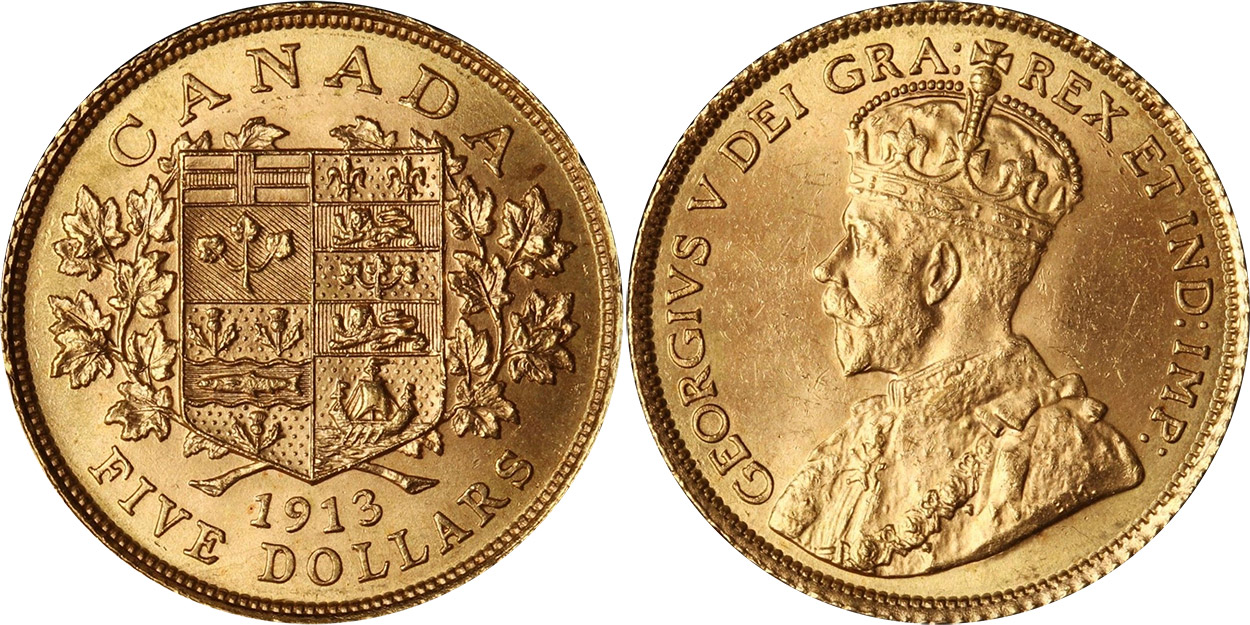 5 dollars 1913 gold