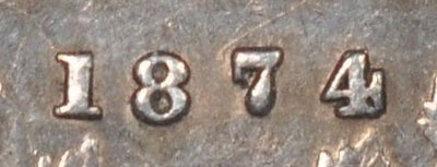 5 cents 1874 - Crosslet 4