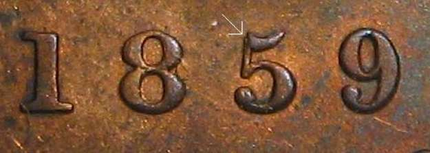 1 cent 1859 - Double 5 #2