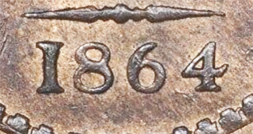 1 cent 1864 - New Brunswick - Short 6