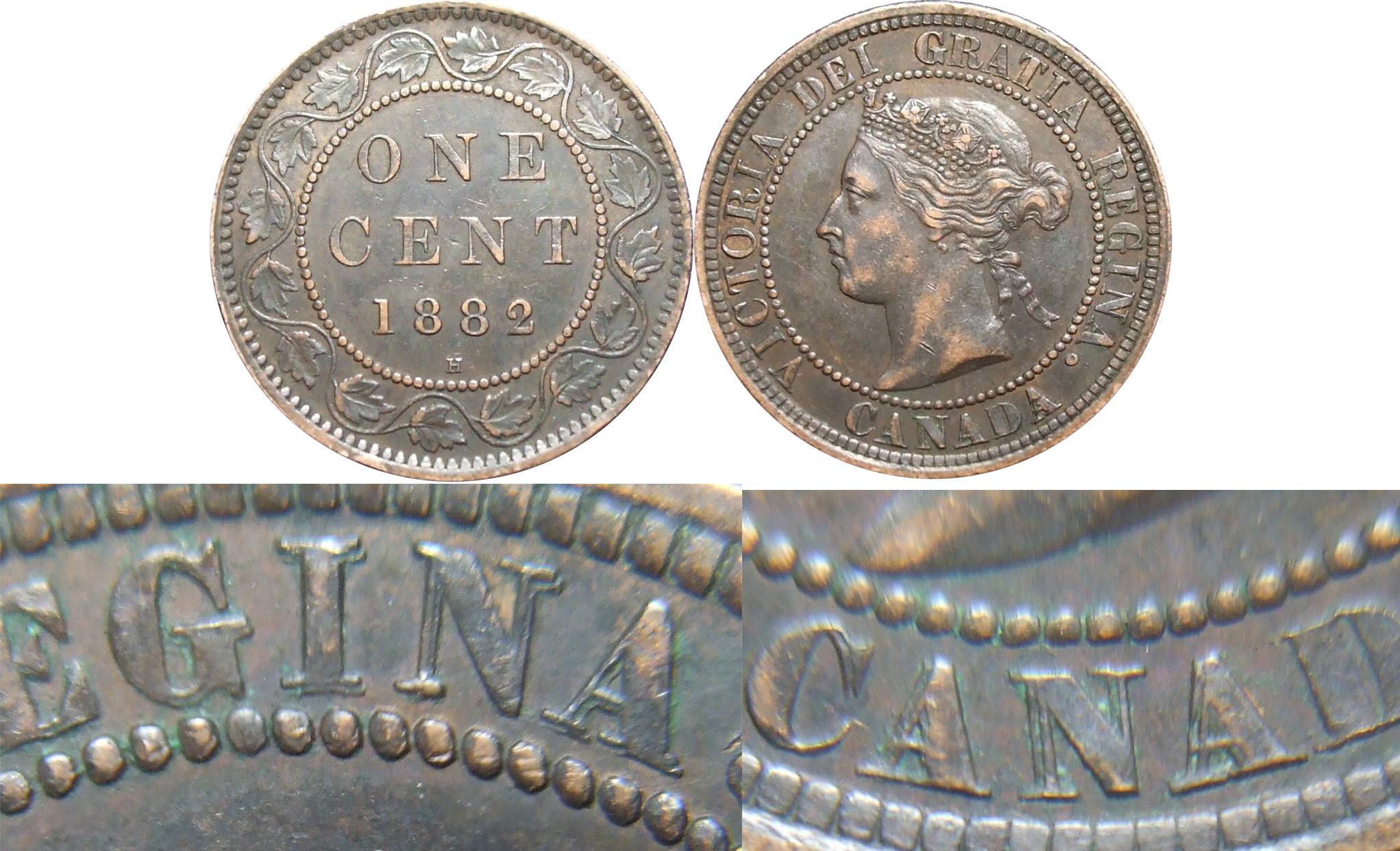 1 cent 1882 H - Double Die Obverse