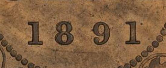 #1980, 1 cent 1891 - Double 8 ...