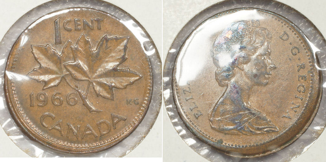 Coins and Canada - 1 cent 1966 - Canadian coins price guide