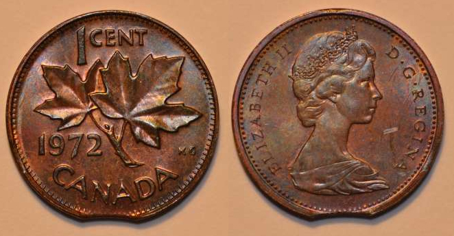 Coins and Canada - 1 cent 1972 - Canadian coins price guide
