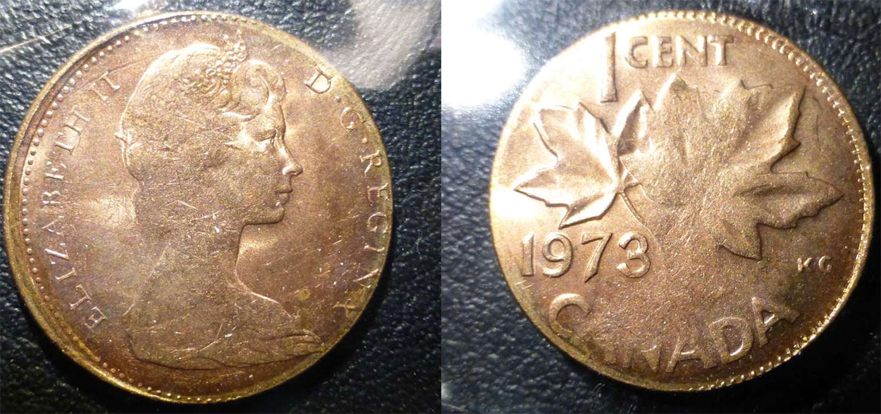 Coins and Canada - 1 cent 1973 - Canadian coins price guide