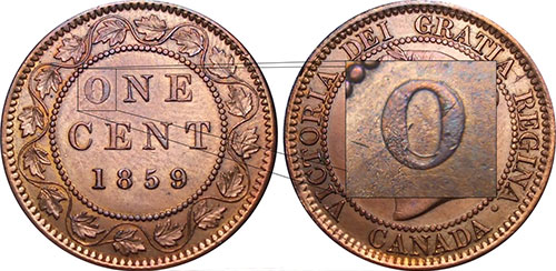 1 cent 1859 - Wide 9 - Double O