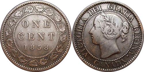1 cent 1858 Canada - Tige et pétioles complets