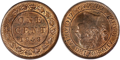1 cent 1858 Canada - Aligement monnaie