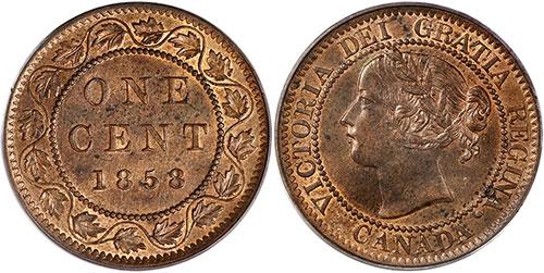 1 cent 1858 Canada - Alignement médaille