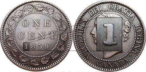 1 cent 1859 - 1 repoinçonné