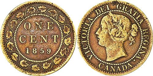 1 cent 1859 - Brass - Narrow 9