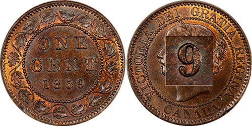 1 cent 1859 - 9 étroit