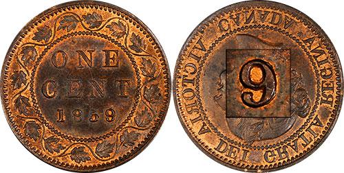 1 cent 1859 Canada - 9 large - 9 sur 8 - Alignement monnaie