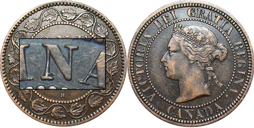 1 cent 1881 - Double N