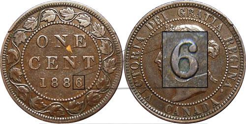1 cent 1886 - 6 repoinçonné