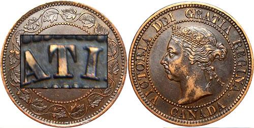 1 cent 1890 - Double T repoinçonné