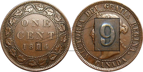 1 cent 1890 - Double 9