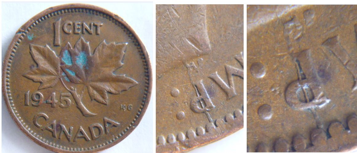 Coins and Canada - 1 cent 1945 - Canadian coins price guide and values