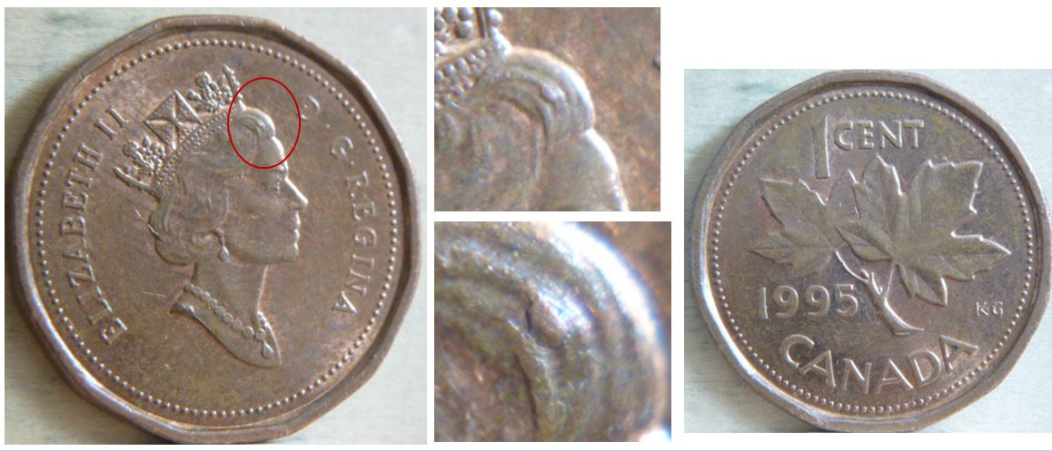 3892 1 Cent 1995 Chip In The Queen S Hair