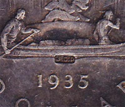 1 dollar 1935 - JOP Counterstamp
