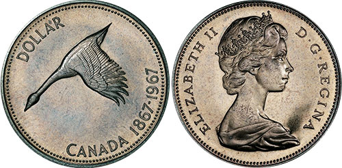 Canada 1967 Mint High Proof Like Grade Silver Dollar Protective Capsule Incl.