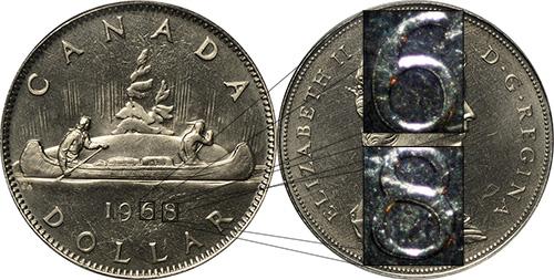 1 dollar 1968 -  Double Die Reverse DDR - Double 68