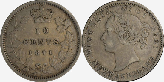 10 cents 1871 - Mule - Canada - Newfoundland