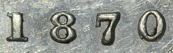 10 cents 1870 - Wide 0 - Repunched 0