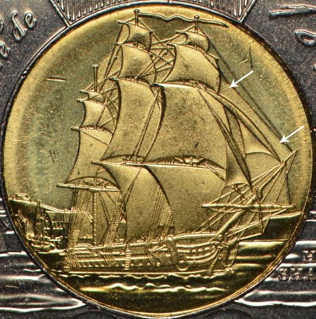 2 dollars 2012 - HMS Shannon - Voile supplémentaire
