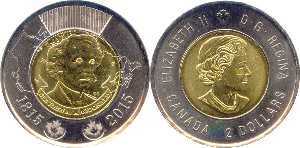 2 dollars 2015 - Sir John MacDonald