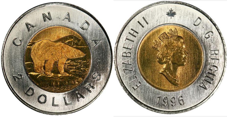 2 dollars 1996 - German planchet