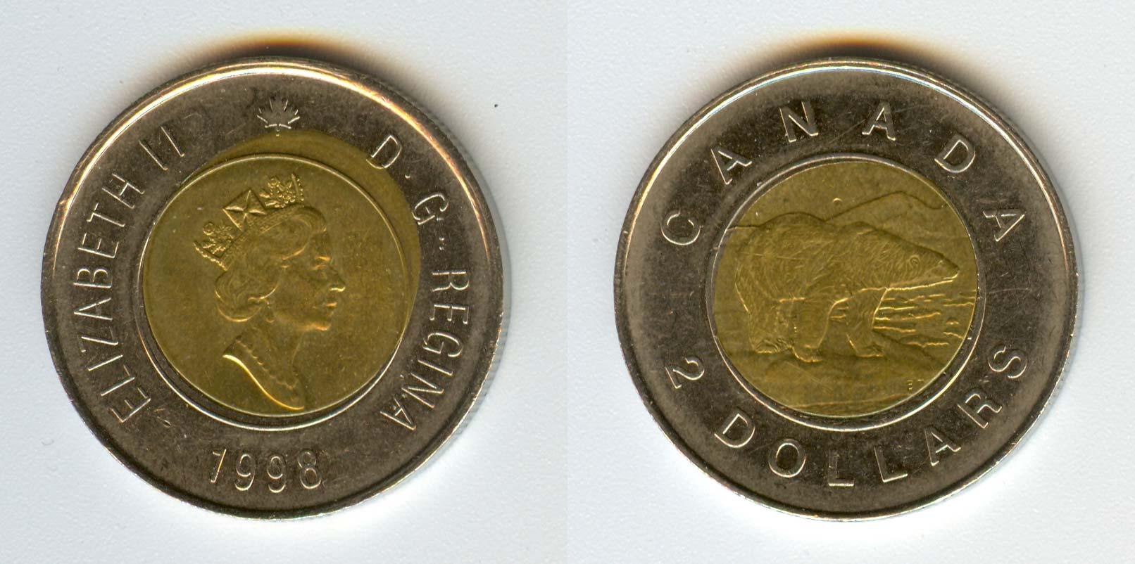 1998 Canadian Prooflike Toonie $2.00 W