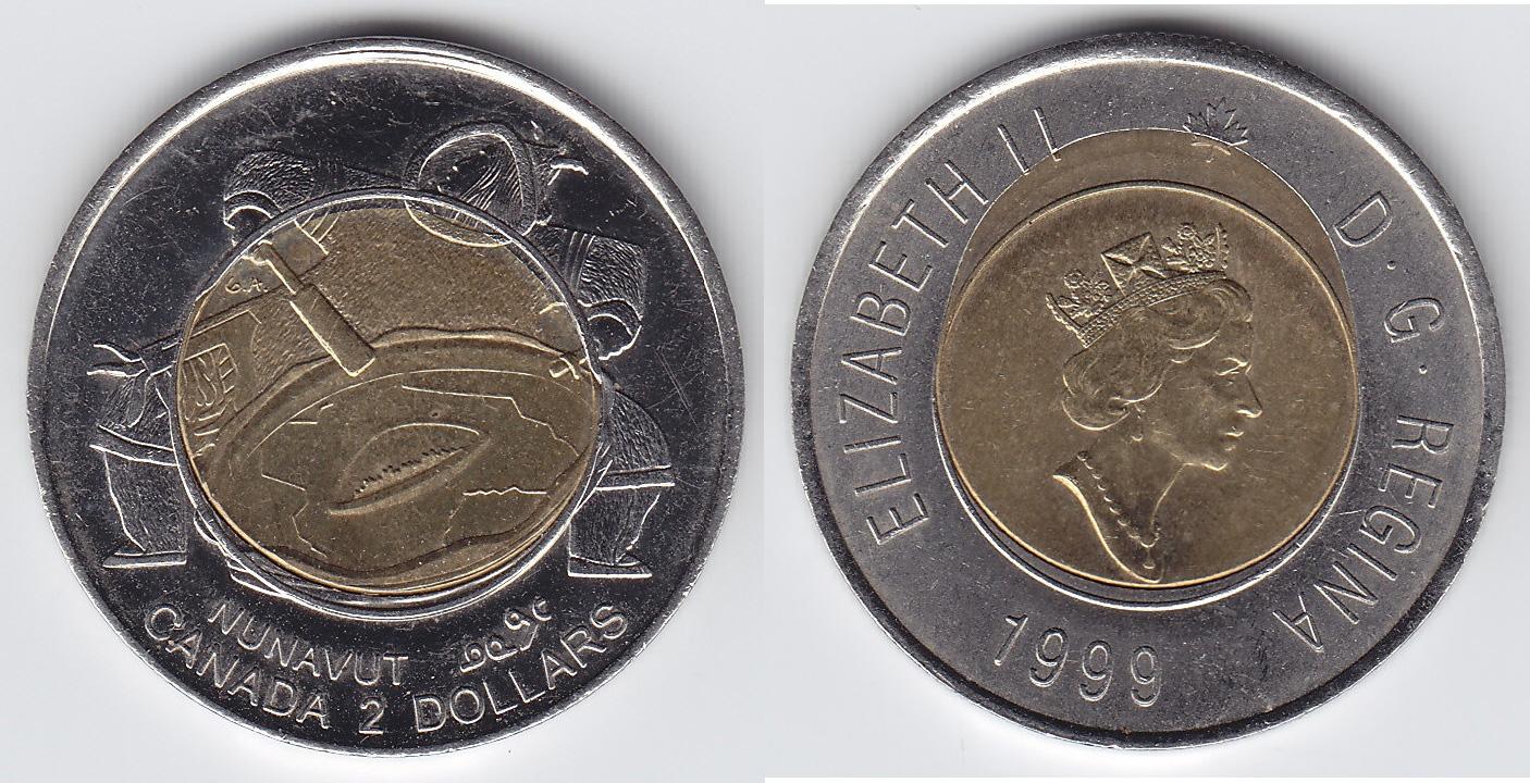 1999 CANADA NUNAVUT TOONIE PROOF-LIKE TWO DOLLAR COIN
