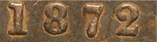 25 cents 1872H - Large 2