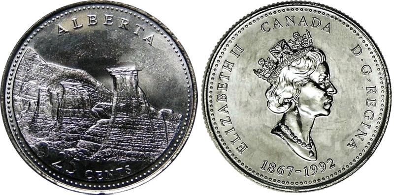 25 cents 1992 - Alberta