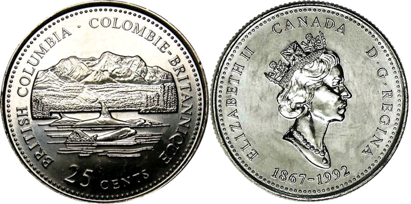 25 cents 1992 - Colombie Britannique