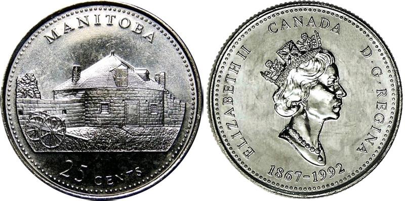 25 cents 1992 - Manitoba