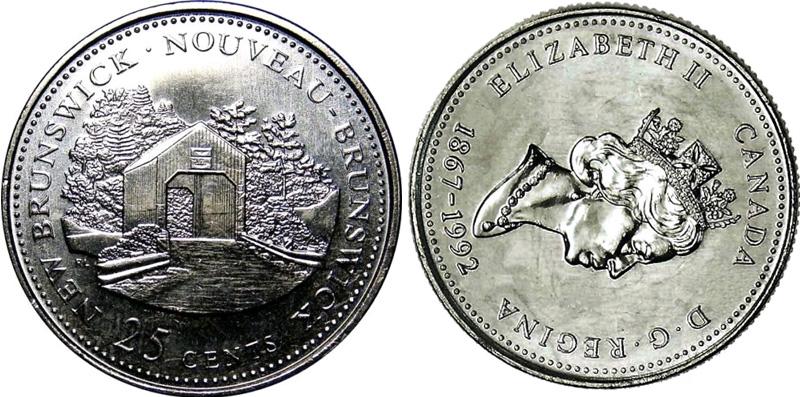 25 cents 1992 - New Brunswick