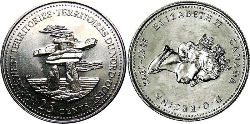 25 cents 1992 - North West Territories