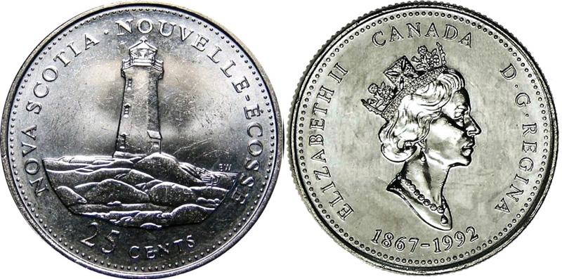 25 cents 1992 - Nova Scotia