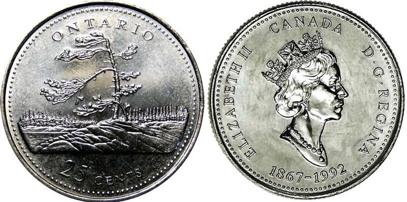 25 cents 1992 - Ontario
