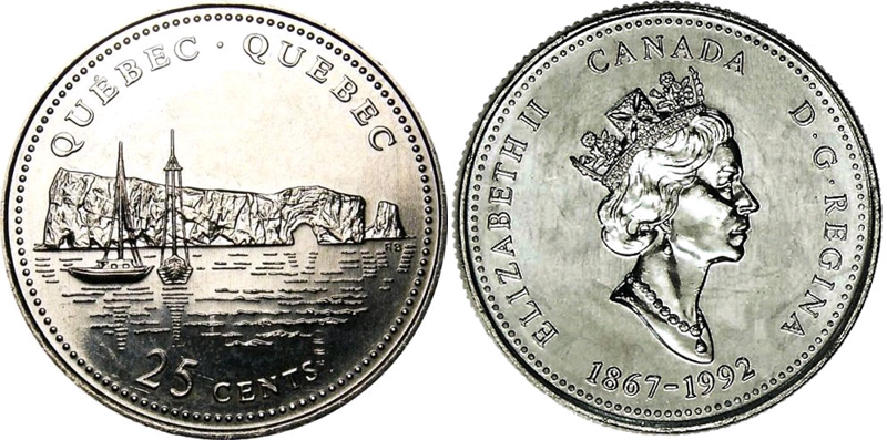 25 cents 1992 - Quebec