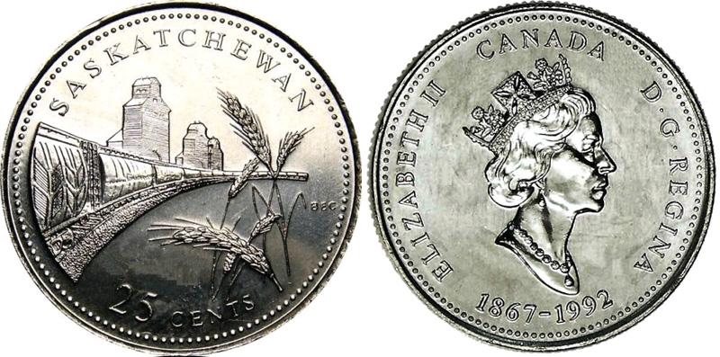 25 cents 1992 - Saskatchewan