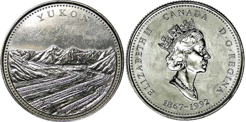 25 cents 1992 - Yukon