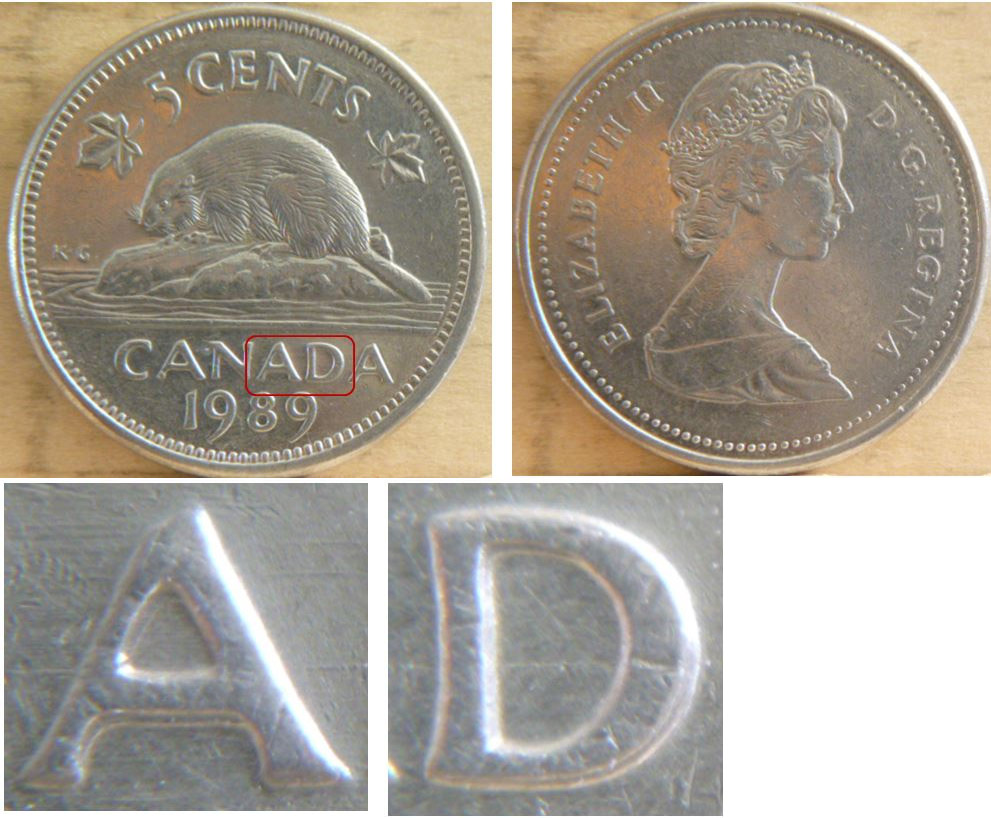 Coins and Canada - 5 cents 1989 - Canadian coins price guide and values